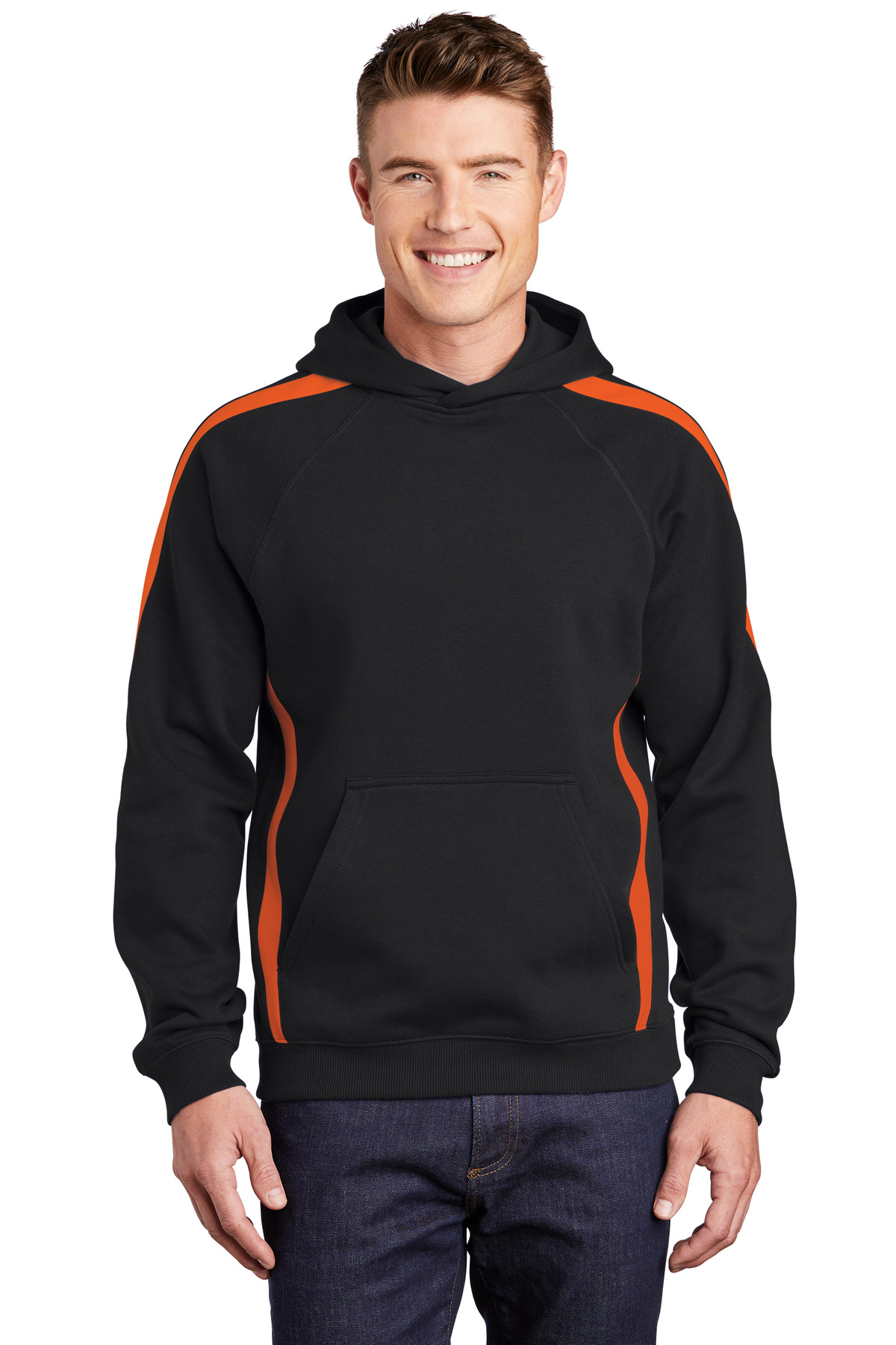 Sport-Tek Sleeve Stripe Pullover Hooded Sweatshirt. ST265