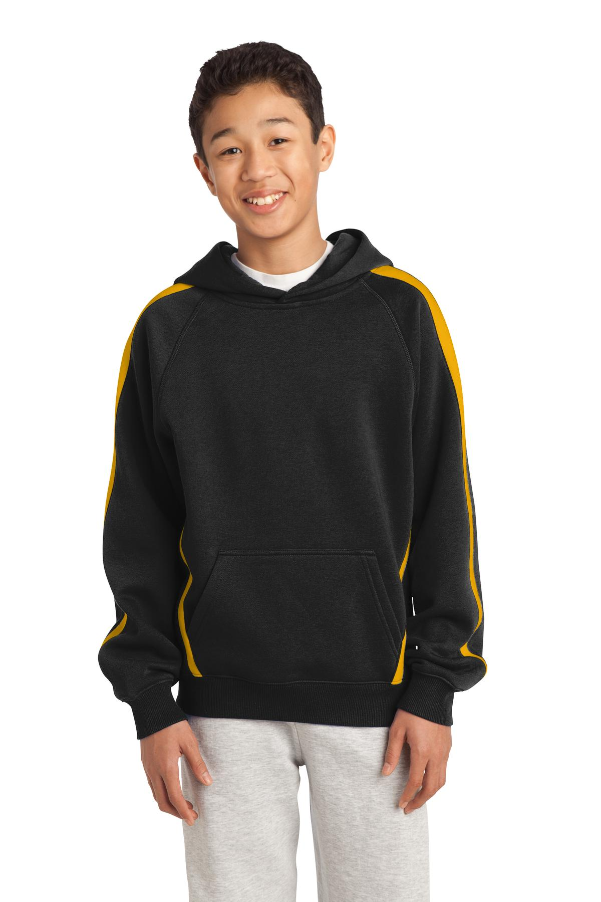 Sport-Tek Youth Sleeve Stripe Pullover Hooded Sweatshirt. YST265