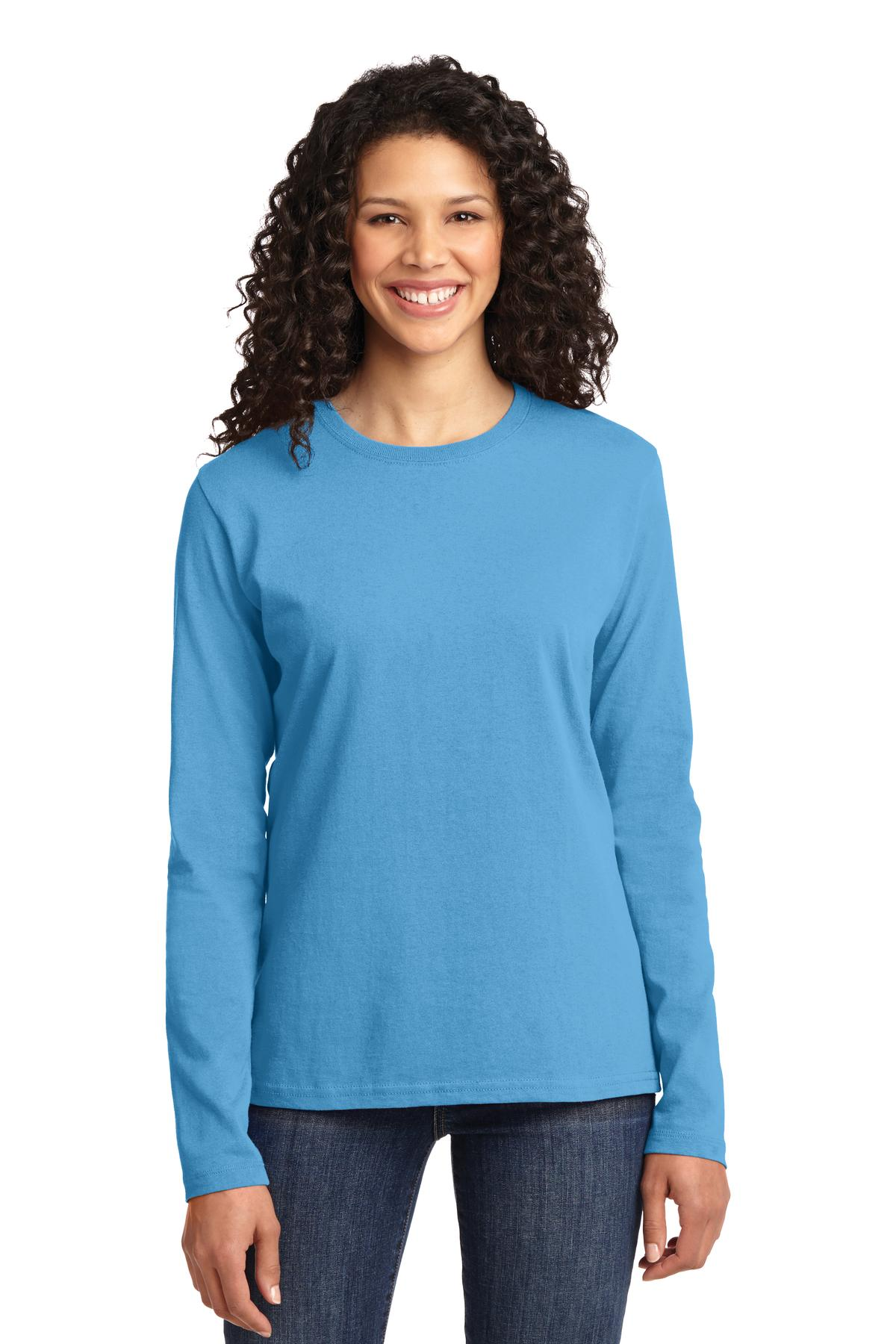 Port & Company Ladies Long Sleeve 5.4-oz 100% Cotton T-Shirt. LPC54LS