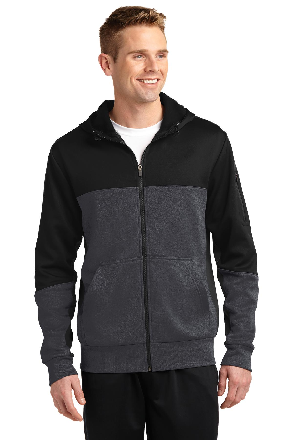 Sport-Tek Tech Fleece Colorblock Full-Zip Hooded Jacket. ST245