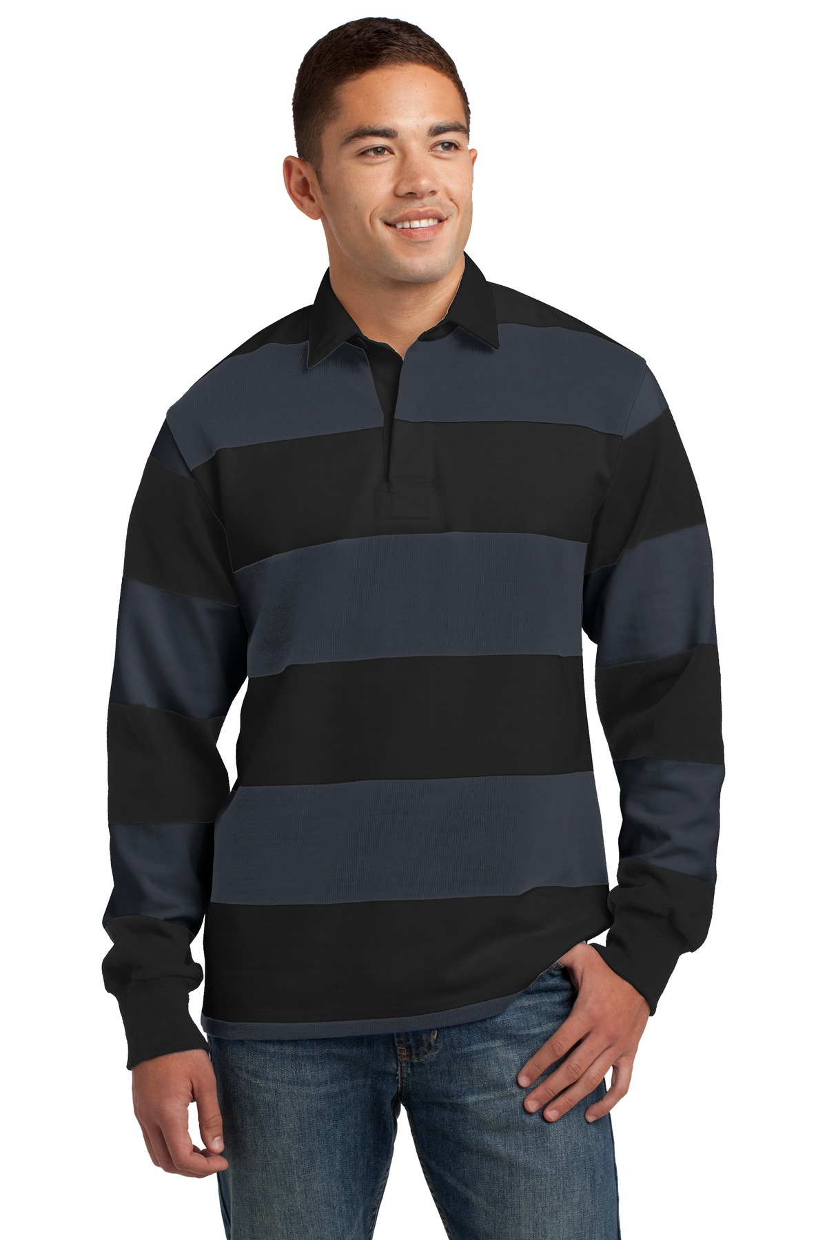 Sport-Tek Long Sleeve Rugby Polo. ST300