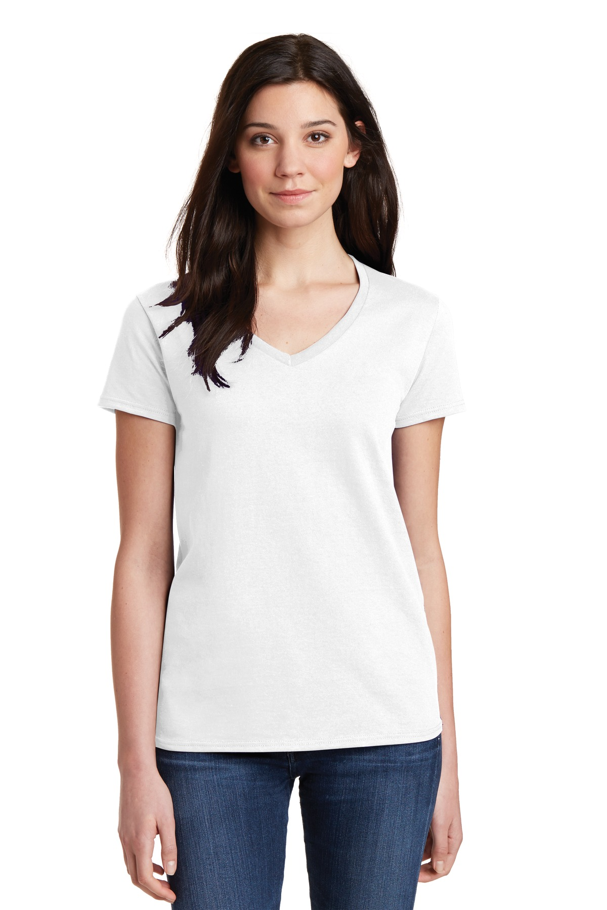 Gildan Ladies Heavy Cotton 100% Cotton V-Neck T-Shirt. 5V00L