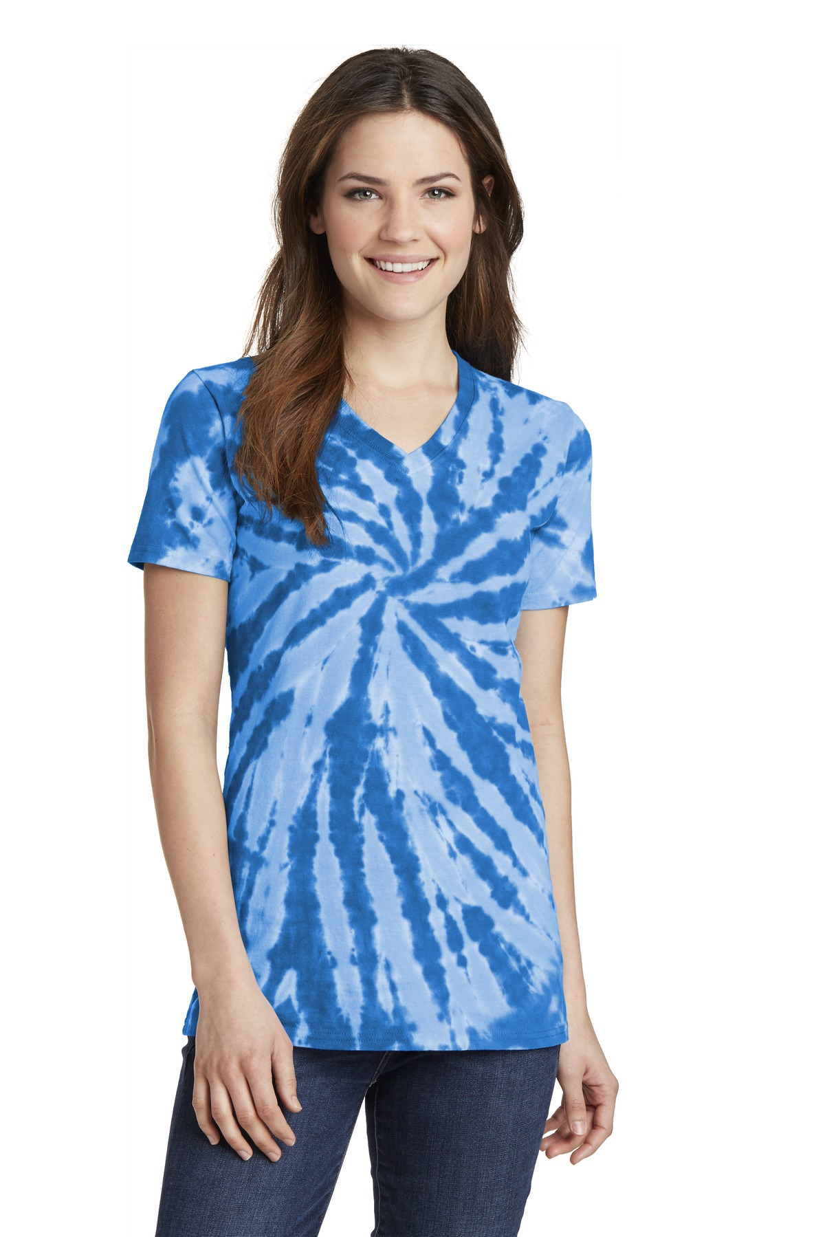 Port Company Ladies 39 Tie Dye V Neck Short Sleeve T Shirt